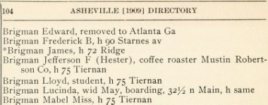 1909 Asheville city directory listing for Mr. Brigman as coffee roaster
