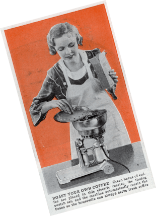 Roast Your Own Coffee.  1940's house wife roasting coffee at home.